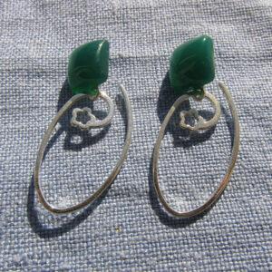 Pendientes de jade con arco de plata (1)